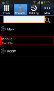 Select a contact number from Contacts in the RoamSave application (RoamSave reads and presents your phone Contacts).