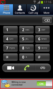 Slide the button to connect RoamSave then it will change to green, showing that all incoming/ outgoing calls are connected via RoamSave. Tips: The RoamSave icon will appear on your status bar.