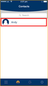 Select a contact number from Contacts in the KingKing application (KingKing reads and presents your phone Contacts).