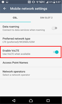 How to activate the VoLTE function of the handset | csl